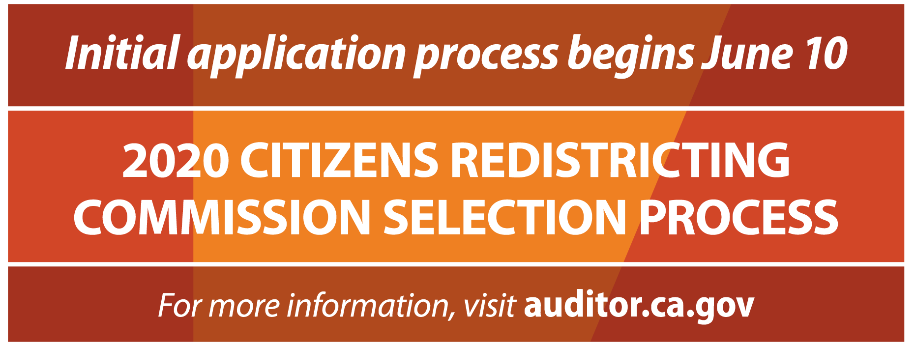 2020 Citizens Redistricting Commission - June 10, 2019, application process starts.